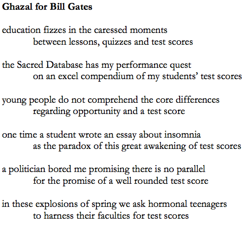 ghazal for bill gates teachpoet