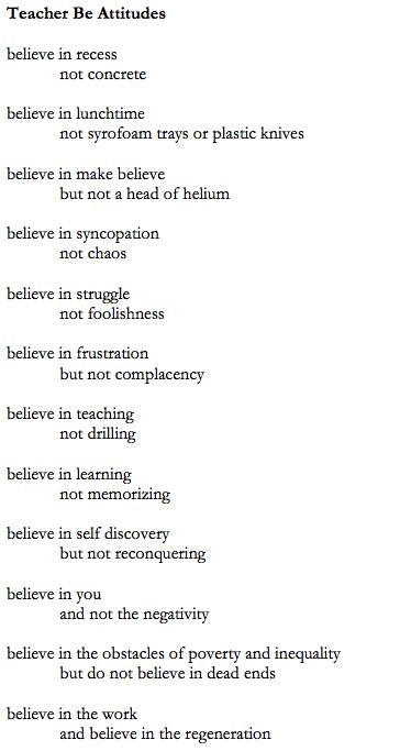 Teacher Be Attitudes